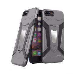 krasscom Husa antisoc cu stand metalic pentru suport magnetic pentru iPhone 7 / 8 Plus 5.5, gri (ARMOR033) - vexio