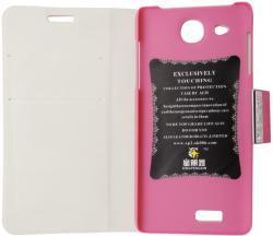 Husa tip carte cu stand roz trandafiriu pentru Alcatel One Touch Idol Ultra 6033X