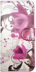Husa tip carte cu stand gri deschis (flori lotus) pentru HTC Desire 500 / 506E