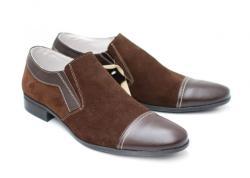 Lucianis style Pantofi maro barbati casual - eleganti din piele naturala - Made in Romania (1005M)