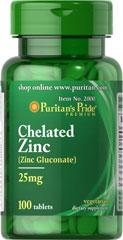 Puritan's Pride Chelated Zinc 25mg 100 Tablets