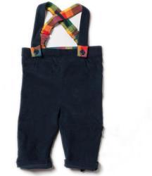 Little Green Radicals Pantaloni lungi pentru bebelusi, cu bretele, bumbac organic, Navy Bubble