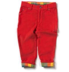 Little Green Radicals Pantaloni reiat unisex, căptușeală fleece, culoare roșu