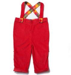 Little Green Radicals Pantaloni lungi pentru bebelusi, cu bretele, bumbac organic, Red Bubble