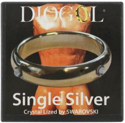 Ezüst péniszgyűrű - Swarovski kővel