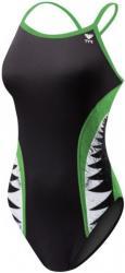 TYR shark bite diamondfit black/green 32 Costum de baie dama