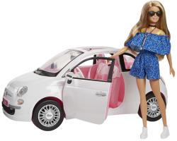 Mattel Barbie Fiat 500 autóval napszemüvegben (FVR07)