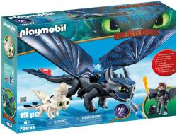 Playmobil Hiccup, Toothless si Pui de Dragon (70037)