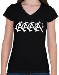 printfashion Audis anarchista - Női V-nyakú póló - Fekete