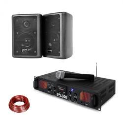 Skytec SPL 300 VHF, set cu amplificator PA, 2 difuzoare, cablu difuzor, negru (PL-10870-29672)