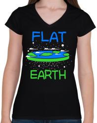 printfashion Lapos Föld elmélet - Női V-nyakú póló - Fekete