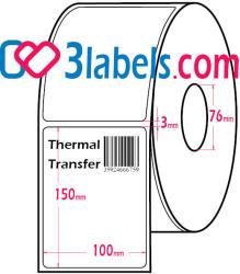 3labels полугланцови бели етикети от хартия за термотрансферен (thermal-transfer) печат 100х150 мм, 1000 бр