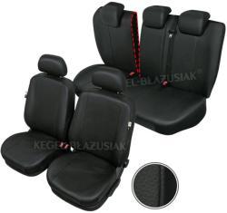 Huse scaune auto imitatie piele Renault Megane I si Megane 2 1995-2007 set huse fata + spate, culoare negru