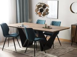 Beliani Design Fekete És Sötét Fa Étkezőasztal 200 x 100 cm SINTRA