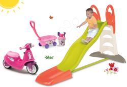 Smoby Set tobogan Toboggan XL cu jet de apă Smoby şi babytaxiu Scooter cu roţi din cauciuc şi cărucior (SM310261-20A)