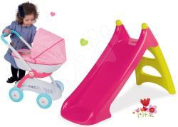 Smoby Set tobogan Toboggan XS Smoby roz și cărucior adânc Prințesele (SM310282-12)