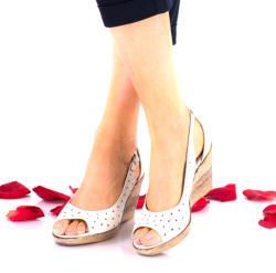 Made In Romania Sandale dama crem din piele naturala - NA177