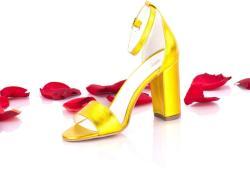 Made In Romania Sandale dama galben-sidefat din piele naturala toc 8cm - NAA54C