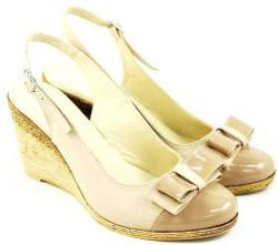 Rovi Design Sandale dama cu platforma din piele naturala Bej - Made in Romania