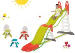 Smoby Set tobogan Megagliss 2în1 Smoby lungime 3, 75/1, 5 m și masă de picnic cu două scăunele KidChair Red de la 24 luni (SM310260-3)