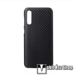 Műanyag védő tok / hátlap - karbon mintás - FEKETE - SAMSUNG SM-A705F Galaxy A70