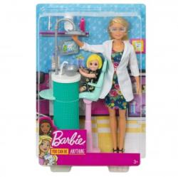 Mattel Barbie you can be doctor stomatolog cu pacient FXP16 Papusa Barbie
