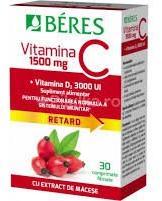 BÉRES Vitamina C 1500 mg + Vitamina D3 3000 ui, 30 comprimate, Beres (FSH300)