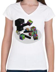 printfashion Minecraft bébi enderman - Női V-nyakú póló - Fehér
