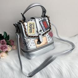 Чанта/ Раница 2 в 1 Кожена Сребриста Модел-hl639