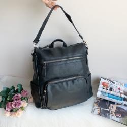 Чанта/Раница 2 в 1 черна кожена Модел-5003