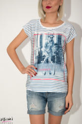 Joggy Girls Tricou alb imprimeu dungi (J5194-WHITE)