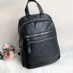 Черна кожена дамска раница модел-5005