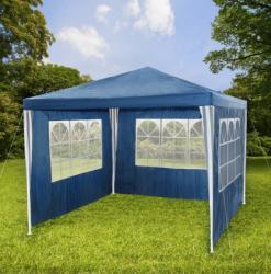 Tech Kerti pavilon oldalfóliával 3x3 m kerti party sátor összerakható sörsátor pergola kék színben