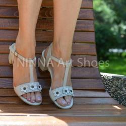 Made In Romania Sandale dama crem, din piele naturala toc 6cm - NAA58CREM