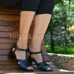 Made In Romania Sandale dama negre, din piele naturala toc 6cm - NAA55NEGRU
