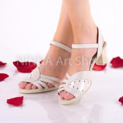 Made In Romania Sandale dama, crem din piele naturala, lacuita - NA301CREM