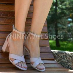 Made In Romania Sandale dama din piele naturala, nude toc 6cm - NAA55NUDE