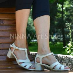Made In Romania Sandale dama crem, din piele naturala toc 5cm - NAA55CREM