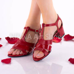Made In Romania Sandale dama rosii din piele naturala cu suvite lac - NAA55RPL