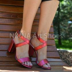 Made In Romania Sandale dama din piele naturala, rosu-sidef cu toc de 9cm - NAA61ROSUS