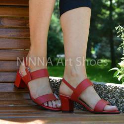 Made In Romania Sandale dama din piele naturala, rosii cu toc de 6cm - NAA59ROSU