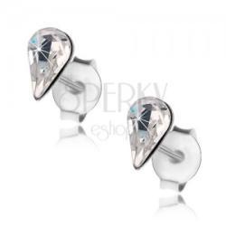 925 ezüst fülbevaló, átlátszó csiszolt csepp Swarovski kristállyal