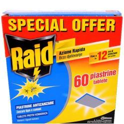 Johnson Raid таблетки срещу комари за електрически изпарител, 60 броя