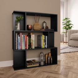 vidaXL Bibliotecă/Separator cameră, negru, 80x24x96 cm, PAL (800082)