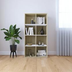 vidaXL Bibliotecă/Servantă, alb și stejar sonoma, 66x30x130 cm, PAL (800158) - vidaxl