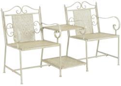 vidaXL Двуместна градинска пейка, 161 см, стомана, бяла (43147)