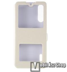 Műanyag védő tok / hátlap - FEHÉR - oldalra nyíló ablakos flip cover, asztali tartó funkció, mágneses záródás, hívásfelvétel - Xiaomi Mi CC9e / Xiaomi Mi A3