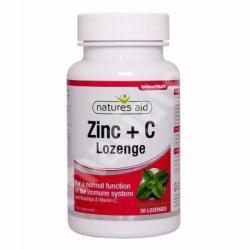 Natures Aid Zinc + Vitamina C cu măceșe și aromă naturală de mentă, Natures Aid, 30cpr