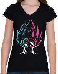 printfashion Dragon Ball Z - Női V-nyakú póló - Fekete