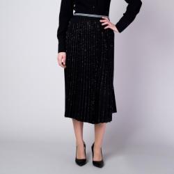 Willsoor Fustă plisată midi, în culoarea negru, cu un model cu fire argintii 11360